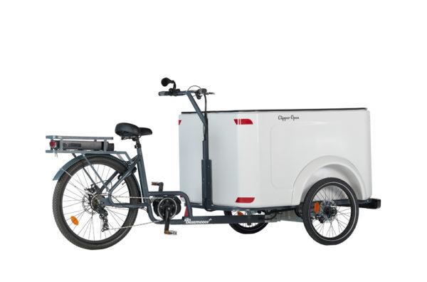Vélo cargo triporteur à assistance électrique, caisson ABS, Clipper Open